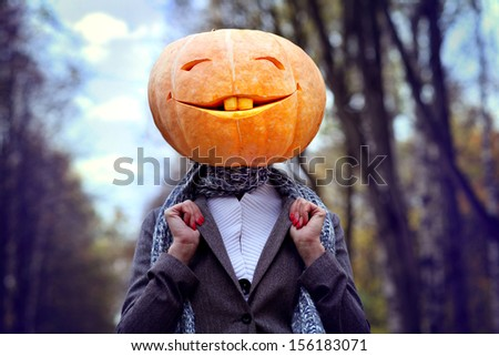 Girl Pumpkin Halloween Pumpkin Head Girl