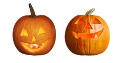 Halloween pumpkin head jack lanterns on white background