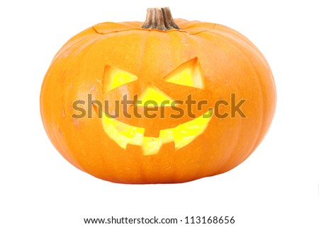 Halloween pumpkin head lantern isolated on white