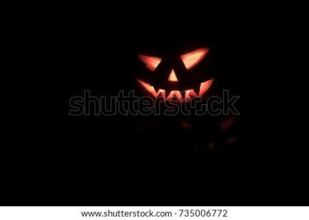 Halloween pumpkin head. Scary evil face spooky holiday. Helloween part. Halloween attributes