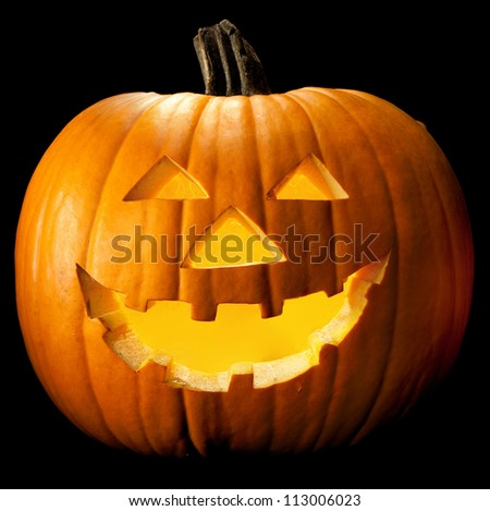 Halloween pumpkin head scary face with evil eye jack spooky and creepy horror lantern