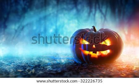 halloween pumpkin in a mystic...