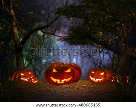 Halloween pumpkin in a mystical forest at night #480685135
