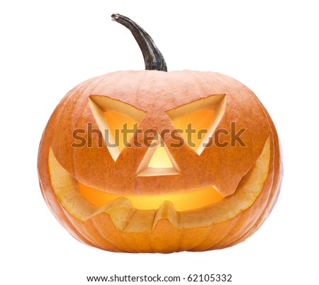Halloween pumpkin isolated on white close up