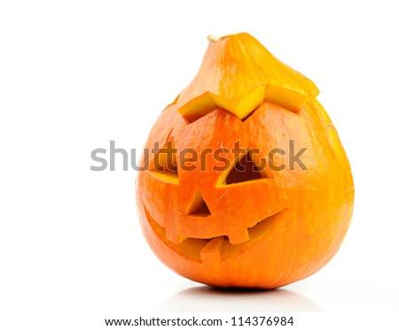Halloween pumpkin Jack O'Lantern isolated on white