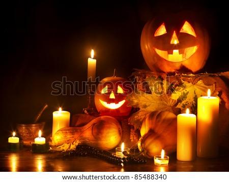 Halloween pumpkin lantern. Decoration.