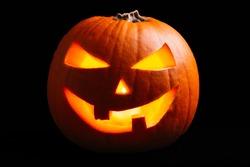 Halloween pumpkin lantern isolated on black