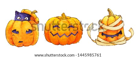Halloween pumpkin mummy cat smile  watercolor isolated october
