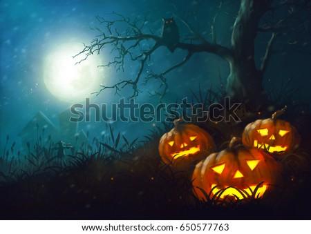 Halloween pumpkin night illustration  paintig dark fantasy horror in the grass and scarecrow full moon #650577763