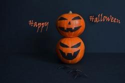 Halloween pumpkin on a black background. Happy Halloween.