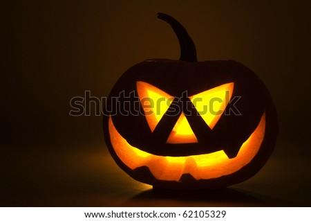 Halloween pumpkin on dark background close up shoot