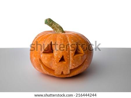 Halloween pumpkin on the gray table #216444244
