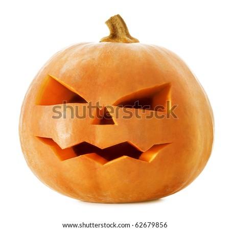 Halloween Pumpkin.Scary Jack O'Lantern isolated on white