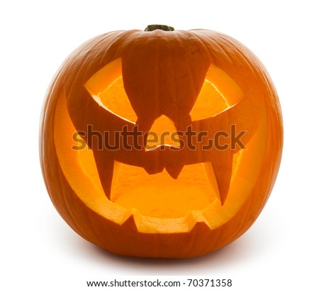 Halloween Pumpkin, Scary Jack O'Lantern isolated on white
