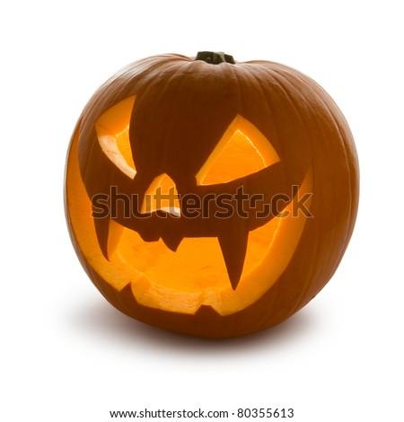 Halloween Pumpkin, Scary Jack O'Lantern isolated on white