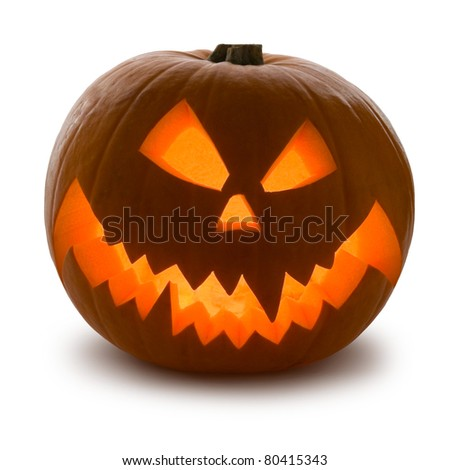 Halloween Pumpkin, Scary Jack O'Lantern isolated on white - stock photo