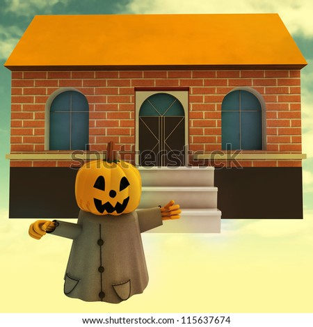 halloween pumpkin witch in front of house at sunset background render illustration