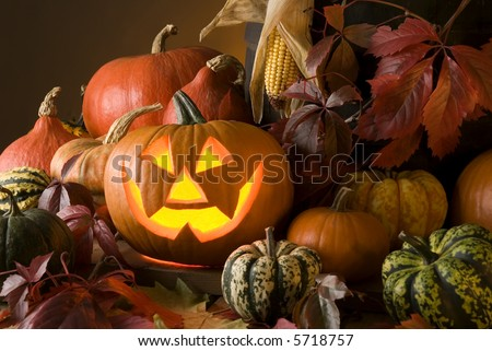halloween pumpkin with autumn leaves close up