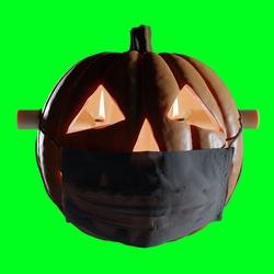 Halloween pumpkin with face mask covid coronavirus 2020 green background isolated illustration design asset