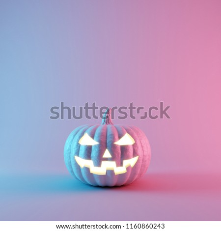 Halloween Pumpkin with neon lights on pastel colors background. 3d rendering