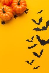 Halloween pumpkins and bats with orange background