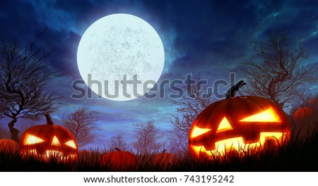 Halloween pumpkins and blue Moon background.for halloween concept,illustration painting And design. #743195242