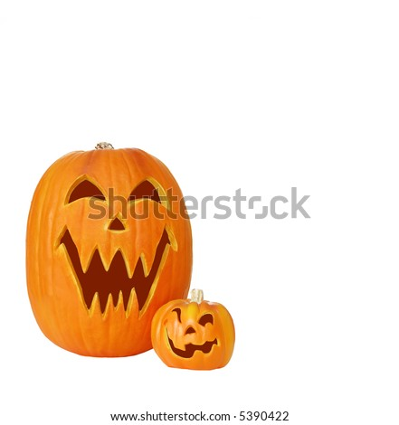 Halloween Pumpkins - Carved jack o lantern pumpkins isolated on white with space for copy.