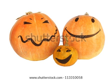 Halloween pumpkins family with the smily faces