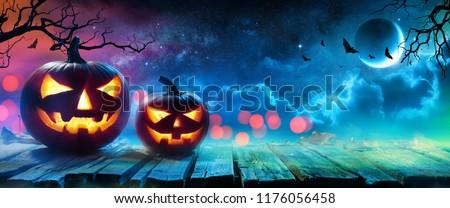 Halloween Pumpkins Glowing In Fantasy Night  #1176056458