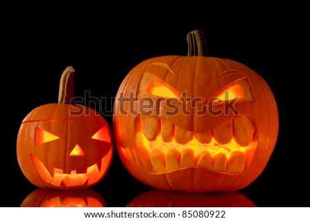 Halloween pumpkins isolated on black background