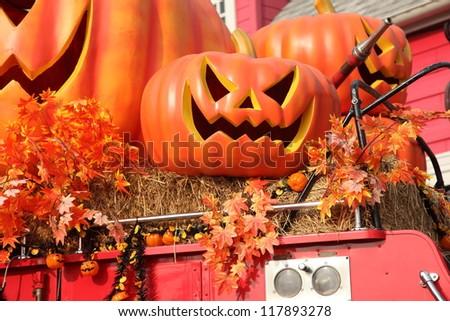 Halloween Fire Truck Halloween Pumpkins on Red Fire