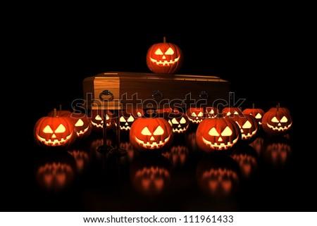 Halloween Pumpkins on the coffin - Isolated on Dark Background