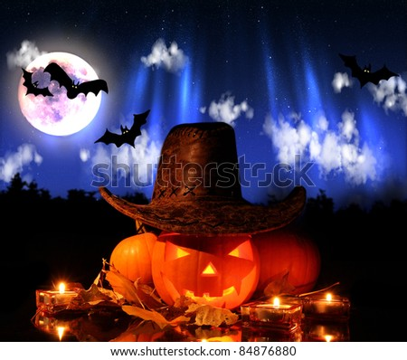 Halloween pumpkins with flying bats