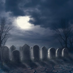 Halloween scary night concept. Horror graveyard at night with evil moon. October 31 halloween party poster design background.