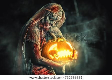 halloween. scary zombie bride...
