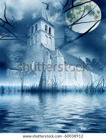 halloween scene: church near lake with full moon