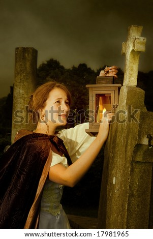 Halloween scene of a victorian lady in a cemetery