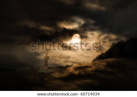 Halloween scenery background with cross, moon and forest in the night