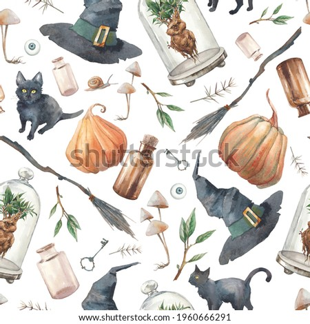 Halloween seamless pattern. Watercolor repeating texture with black cats, pumpkins, broom, bottles, mandrake, mushrooms, poison. Witch wallpaper design