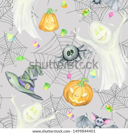 Halloween seamless pattern, Watercolor. with three witches and cauldron on the black background. Halloween seamless pattern. Halloween seamless pattern with kids in costumes.