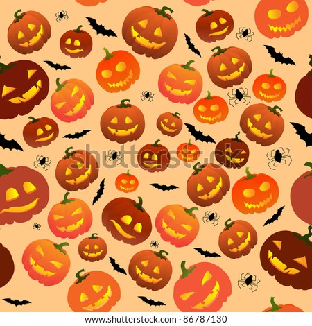 Halloween seamless  with pumpkins, bats and spiders