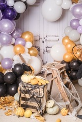 Halloween set up with pumpkins and balloons