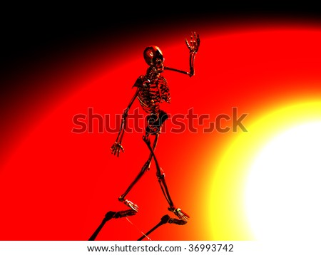 Halloween skeleton waving hello and walking into the light