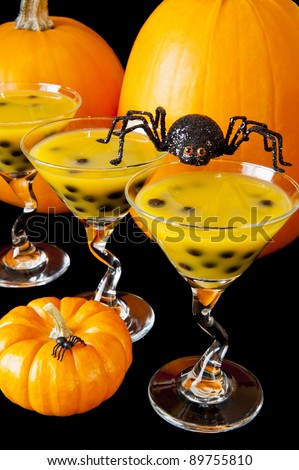 Halloween spider with mango bubble tea and pumpkins