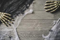 Halloween spooky background with spiderwebs
