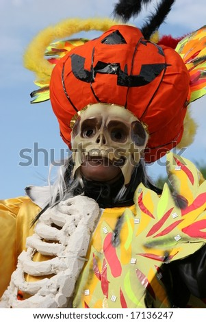 Halloween theme during a parade in French Guiana