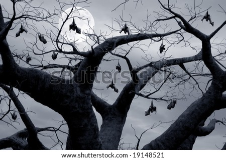Halloween theme, flock of bats hanging in a tree