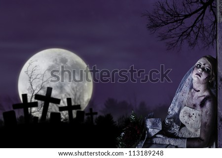 Halloween theme: Horror scene of corpse bride with copy space