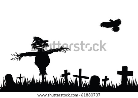 halloween theme silhouette, scarecrow in graveyard