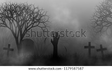Halloween theme with hand of zombie in cemetery among fog in creepy forest illustration design background. #1179587587